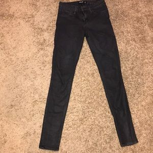 Black wax denim jeans